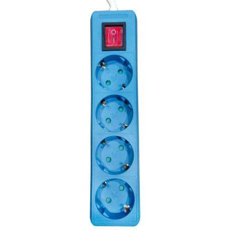 Eurolamp Πολύπριζο Μπλε με Διακόπτη 4 Θέσεων με Καλώδιο 2m 3x1,5mm - elemech.gr