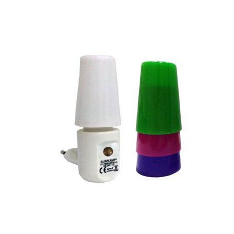 Eurolamp Φωτάκι Νυκτός Led 1W 2700K με Φωτοκύτταρο και 4 Χρώματα - elemech.gr
