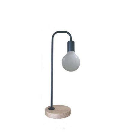Eurolamp Φωτιστικό Γραφείου Μεταλλικό Μαύρο και Ξύλινη Βάση E27 Vintage - elemech.gr