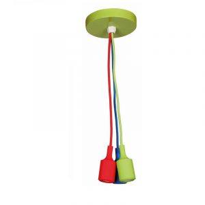 Eurolamp Φωτιστικό Ντουί Τριπλό Κρεμαστό Κόκκινο-Μπλε-Πράσινο E27 - elemech.gr