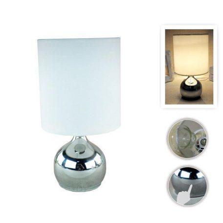 Eurolamp Φωτιστικό Πορτατίφ με Πλήκτρο Αφής E14 Νίκελ Λευκό - elemech.gr