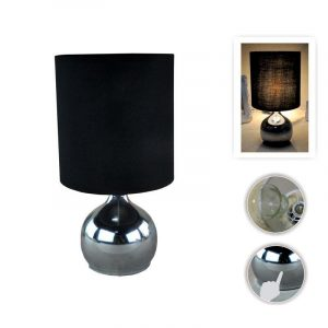 Eurolamp Φωτιστικό Πορτατίφ με Πλήκτρο Αφής E14 Νίκελ Μαύρο - elemech.gr