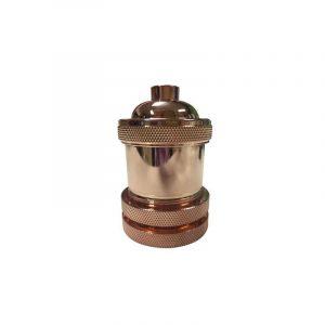 Eurolamp Ντουί Μεταλλικό Ροζ Χρυσό E27 - elemech.gr