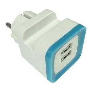 Αντάπτορας από Σούκο σε 2 USB Μπλέ 5v DC 2.4A